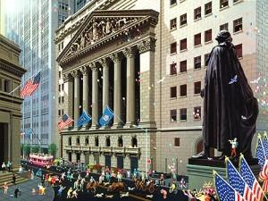 На фотографии изображена Нью-Йоркская Фондовая Биржа, находящаяся на Уолл-стрит