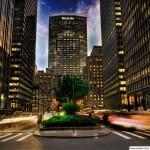 Фото вечерних небоскрёбов в Нью-Йорке