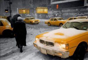 Такси в зимнем Нью-Йорке