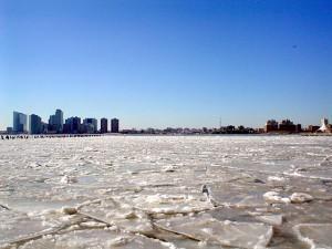 Гудзон зимой, таяние льдов